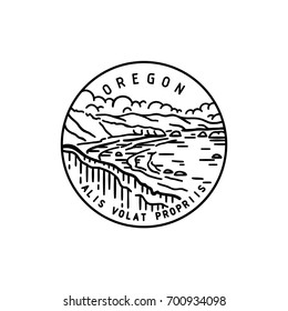 Vintage vector round label. Oregon. Bay.