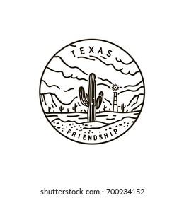 Vintage vector round label. Texas. Desert.