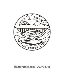 Vintage vector round label. West Virginia. Bridge.