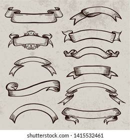 Vintage vector scroll ribbon. Hand drawn sketch elements for posters logos invitation cards, retro heraldic ribbons. Doodle swirl scrolls.