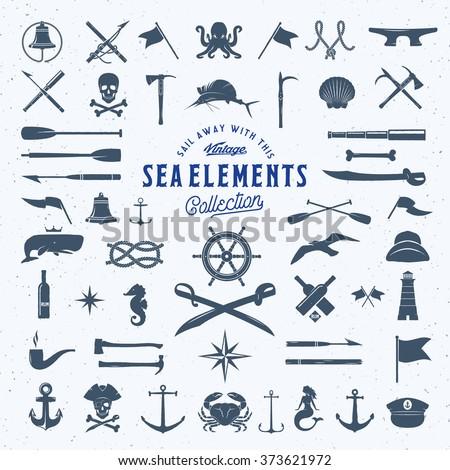 Vintage Vector Sea Nautical Icon Symbol