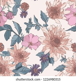 Vintage vector seamless pattern with aster flowers,tea rose, dahlia flowers and wildflowers. Autumn floral pattern. Hand drawn botanical vector illustration.