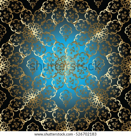 Vintage Vector Seamless Pattern Background Wallpaper With Gold Antique Decorative Floral Ornaments In Arabian Style