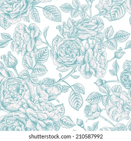 Vintage vector seamless pattern with blue roses.