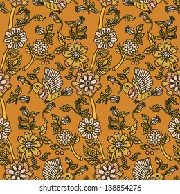 Vintage vector seamless pattern with flower and birds.