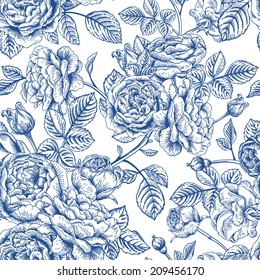 Vintage vector seamless pattern with garden roses in blue on a white background.