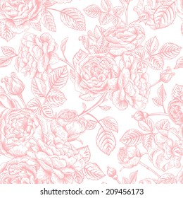 Vintage vector seamless pattern with garden roses. Romantic background.