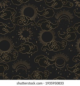 Vintage vector seamless pattern with gold abstract sun, moon, stars and clouds isolated on black background. Mystical and mysterious Illustration for print, fabric, brochure, card, wallpaper