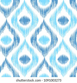 Vintage vector seamless pattern in ikat style. Retro ikat blue pattern.