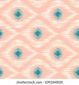 Vintage vector seamless pattern in ikat style. Retro ikat pattern wit eyes.
