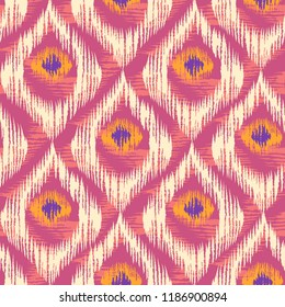 Vintage vector seamless pattern in ikat style. Retro ikat colorful pattern.