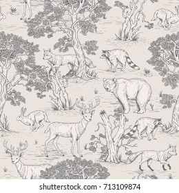vintage vector seamless pattern of illustrated woodland wild animals in the forest