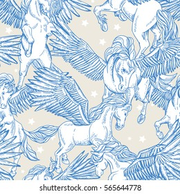 Vintage vector seamless pattern of white winged pegasus on white background, vintage vector design elements, greeting card