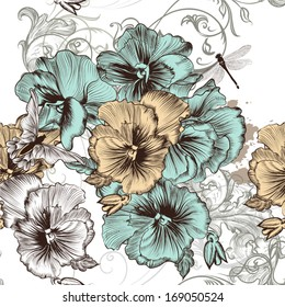 Vintage vector seamless wallpaper with swirls and hand drawn flowers