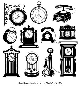 Vintage vector set: Antique clocks & phones