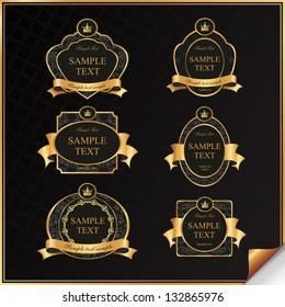 Vintage vector set of black frame label with gold elements and crown