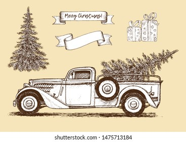 Vintage vector set of a Christmas truck, gifts and Christmas tree on a beige background. Retro design. Linear sketch, hand drawn graphics.