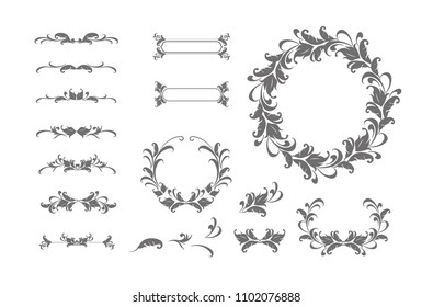 Vintage vector Set. Floral elements for design of monograms, invitations, frames, menus, labels and websites. Graphic elements for design of catalogs and brochures of cafes, boutiques.