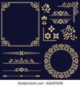 Vintage vector Set. Floral elements for design of monograms, invitations, frames, menus, labels and websites. Graphic elements for design of catalogs and brochures of cafes, boutiques.