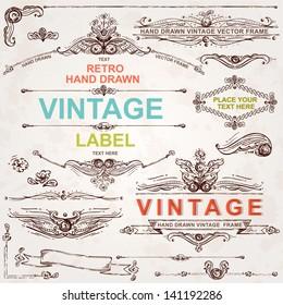 Vintage vector set: hand drawn design elements and frames