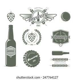Vintage vector set of labels of beer and design elements