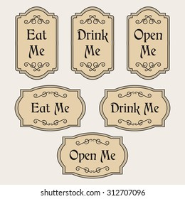 Vintage vector set with labels Eat me, Drink me, Open me