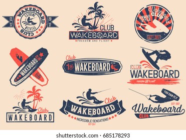 Vintage vector set of logos for the wakeboard club for your unique design, printing on a T-shirt, the Internet.