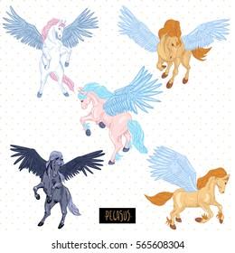 Vintage vector set of winged pegasus, animals design elements, outline collection