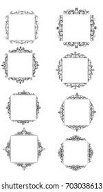Vintage vector swirl square frame set black on white