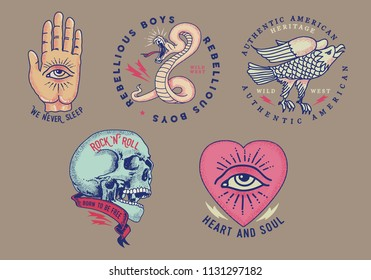 Vintage vector tattoo graphics.