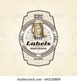 Vintage vector template of beer label with beer mug.