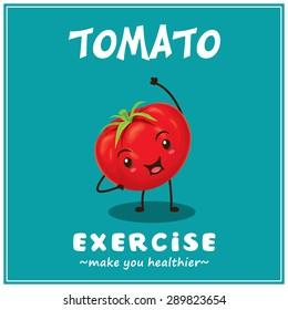 Vintage vector tomato cartoon character illustration