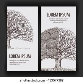 Vintage vector tree. Design template banner ecology or nature, forest. Hand-drawn sketch illustration