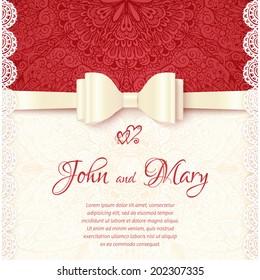 Vintage vector wedding card template
