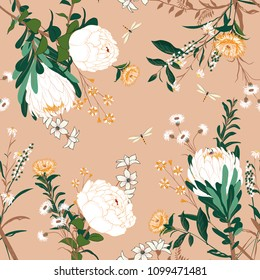 Vintage vector white Floral pattern in the many kind of flowers. Botanical  Seamless vector texture. For fashion fabric Printing with in hand drawn style on peach color background.