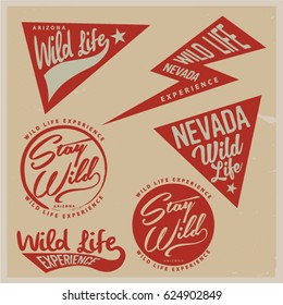 Vintage vector of wilderness and nature exploration with graphic elements.