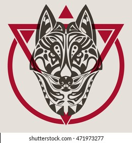 Vintage vector wolf or dog head with tribal ornaments. Traditional ethnic background, tattoo, African, Indian, Thai, Aztec, boho design. For print, posters, t-shirts, textiles, coloring book.