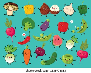 Vintage vegetable & fruit poster design set with vector mushroom, pepper, snake fruit, onion, radish, broccoli, egg plant, chili, pea, beetroot, carrot, cucumber, cabbage, apple guava characters.