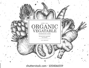 Vintage vegetable illustration for poster , card or frame.Use by Pen and Ink Sketch Drawing Technique.Vector and illustration.