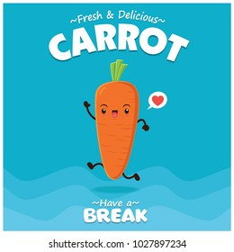 Vintage vegetable poster design with vector carrot character.