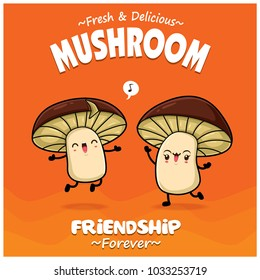 Vintage vegetable poster design with vector mushroom characters.