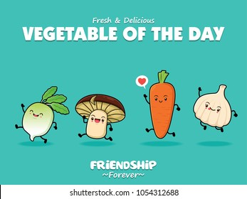 Vintage vegetable poster design with vector radish, mushroom, carrot, onion characters.