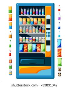 Vintage vending machine advertisement poster with snacks and drinks packaging set Food And Drink Vending Machines Design Set Stylized vector illustration. Web site page and mobile app design.