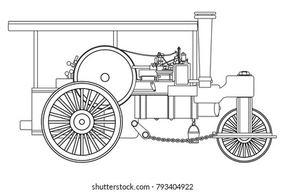 A vintage victorian ere steam roller over a white bakground