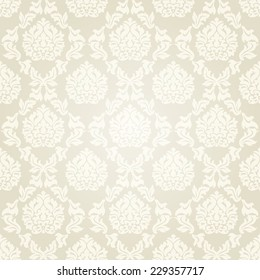 Vintage Victorian style seamless pattern in beige colors.Vector illustration