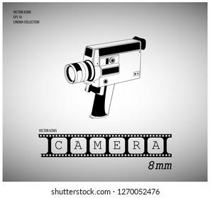 Vintage video camera 8mm. Vector illustration. - Vector Art