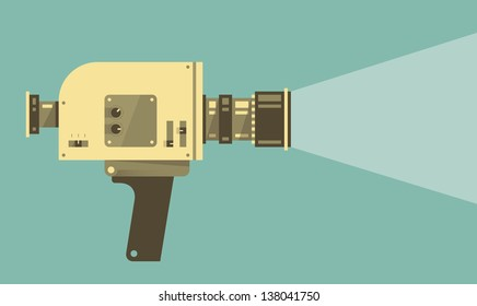 Vintage video camera with light. Vector illustration.