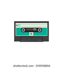 VIntage video tape or music cassette icon flat vector illustration isolated.