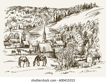 Vintage view of New England farm with horses and cows, hand drawn vector illustration.