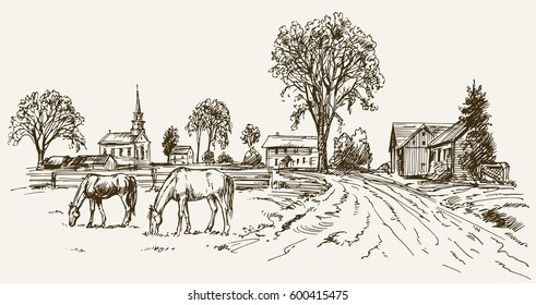 Vintage view of New England farm with horses, hand drawn vector illustration.